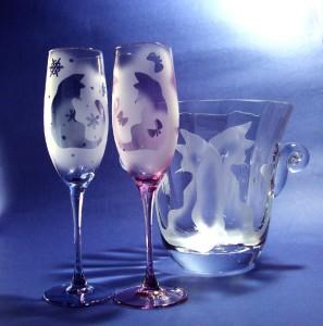 《ケンとメリー》のフルートグラスペア&クリスタルワインクーラー